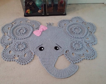 Elephant rug, crochet elephant, crochet elephant rug, nursery rug, nursery decor, grey elephant rug, grey rug, baby shower gift, baby room