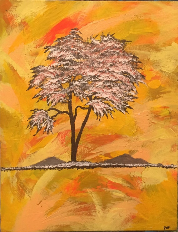 Colorful Original 11 X 14 Abstract Acrylic Tree Etsy