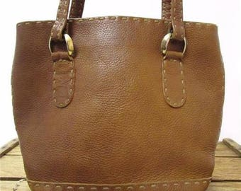 Vintage 1970s Oversize Stitch Brown Patina Leather Small Tote Satchel Bag Purse