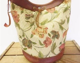 Vintage Bohemian Floral Print Canvas & Leather Crossbody Hobo Bag Shoulder Purse