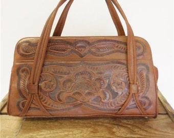 Vintage Brown Western Tooled Leather 1960s Boho Zipper Purse Handle Fashion Bag