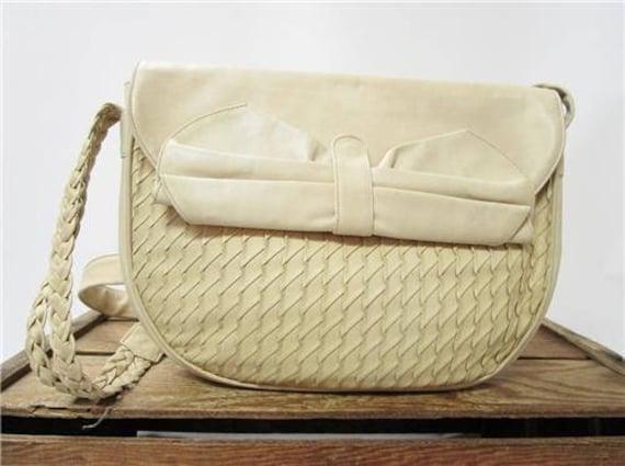 bd6de41915ad Peruzzi Vintage Woven Smooth Ivory Italian Leather 1980 s