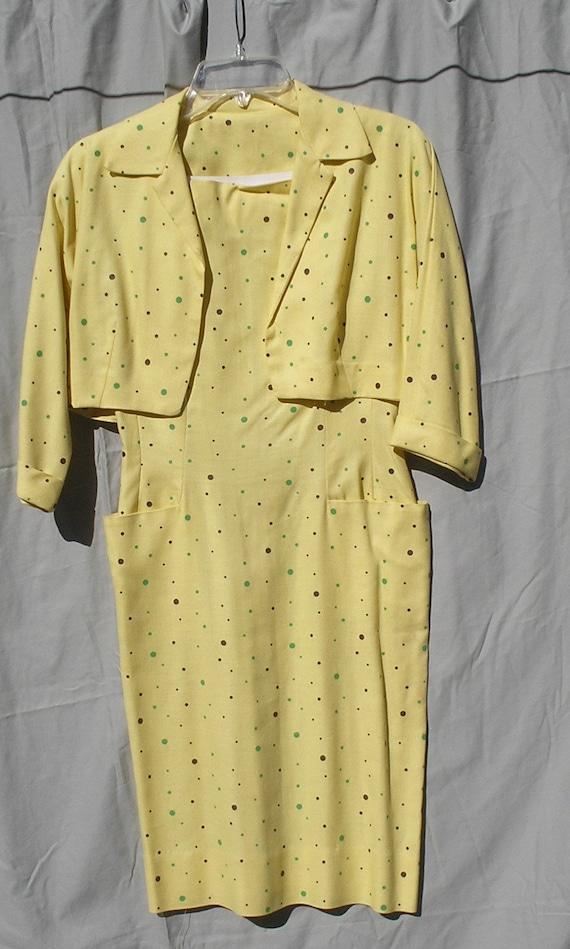 1960s  Yellow Green Brown Polka Dots Linen Like Wi