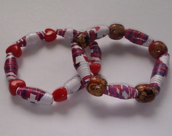Homemade Paper Bead Bracelets Set of 2 Made from Recycled Craft Paper