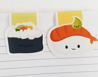 Sushi Magnetic Bookmarks, Set of 2 Kawaii Food Paper Clips for Planners or Cookbooks, Sushi Page Markers for Reading, Wasabi Sushi Bookmarks