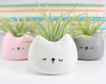 Cat Air Plant Holder, Gift For Her, Air Plant Gift, Cat Lover Gift, Kitty Planter, Modern Planter, Air Planter, Cat Plant, Cat Mom Gift