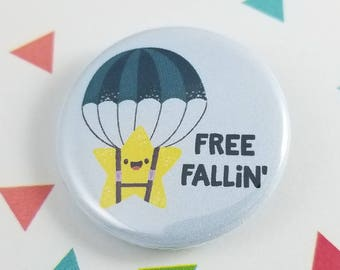 Star in Parachute Button, Free Fallin, Gift for Her, Gift for Him, Kawaii Pin, Pinback Button, Bag Decoration, Backpack Accessory, Pun Gift