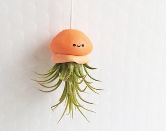 Jellyfish Air Plant, Hanging Air Plant, kawaii Gift, Orange Jellyfish Planter, Modern Decor, Ocean Decor, Gift for Her, housewarming Gift
