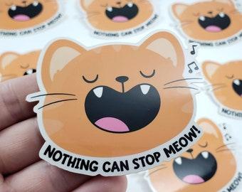 Cat Meow Pun Sticker, S0041, Vinyl Stickers, Laptop Decal, Orange Tabby Cat Gift, Cute Sticker, Small Gift Idea, Kitty Sticker, Kawaii Cat