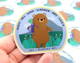 Bear Hiking Sticker, S0160, Vinyl Stickers, Laptop Decal, Grizzly Bear Gift, Gift for Her, Cute Sticker, Brown Bear Decal, Small Bear Gift