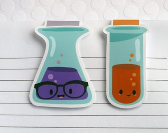 Science Beakers Magnetic Bookmarks, Set of 2 Kawaii Science Paper Clips for Planners or Cookbooks, Chemistry Page Markers for Reading