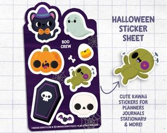 Halloween Sticker Sheet - Boo Crew, Ghost Stickers, Stickers for Planner Journal, Cute Stationary, Planner Sticker Sheet