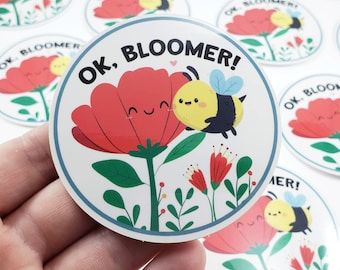 Ok Bloomer Bee Sticker, S0013, Vinyl Stickers, Laptop Decal, Bee Gift for Her, Cute Sticker, Bee and Flower, Small Gift Idea, Gardening Gift