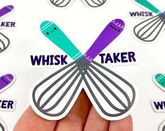 Whisk Taker Vinyl Sticker, S0151, Cute Baking Decal, Laptop Whisk Sticker, Cute Food Gift, Small Gift Idea, Gift for Her