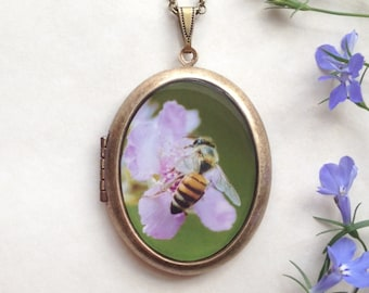 Pollinator Locket - Bee Pollinating Purple Flower Photo Necklace