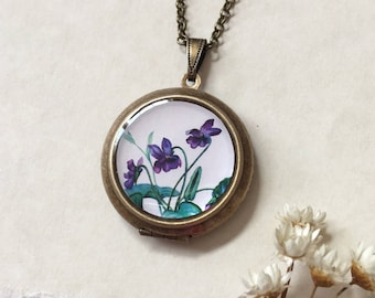 Sweet Violet Locket Small Round Version - Violette' Spring Purple Flower - Botanical Brass Necklace