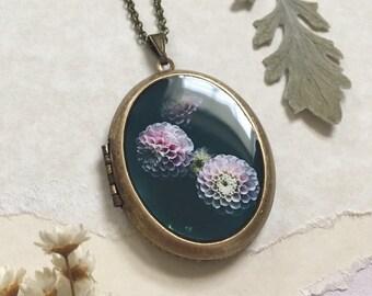 Dahlia in Bloom Locket - Night Garden Fine Art Photography Brass Photo Locket Necklace