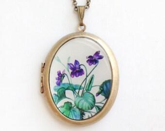 Sweet Violet Locket - 'Violette' Spring Purple Flower - Botanical Brass Photo Locket Necklace
