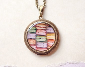 French Macaron Locket - Pastel Macarons - fine patisserie photography necklace