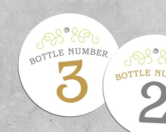 TEQUILA tasting bottle number tags 1 - 9 INSTANT DOWNLOAD printable