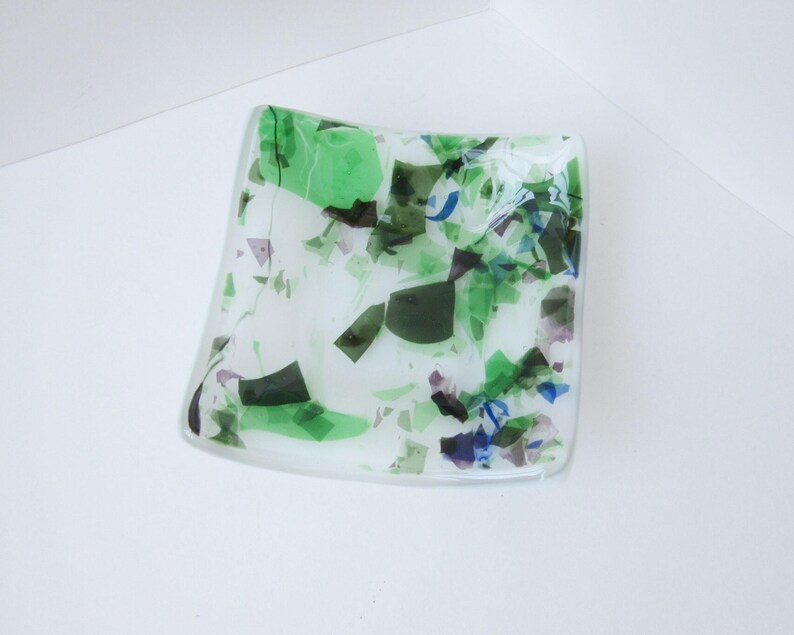 Home Accent Piece Bedside Ring Holder Catch All Tray Romantic Glass Trinket Dish Fused Glass Dish Catchall Dish Boudoir Decor
