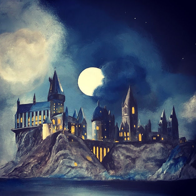 Harry potter hogwarts castle of witchcraft and wizardry etsy - Hogwarts at night wallpaper ...