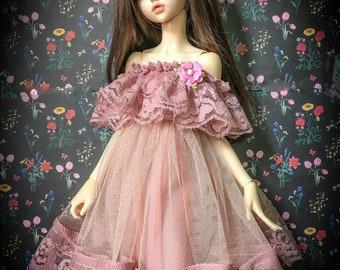 BJD doll slim MSD Minifee clothes beige ,pink lace dress (no doll , dress only)