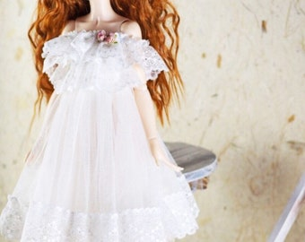 BJD doll slim MSD Minifee clothes beige black white lace dress