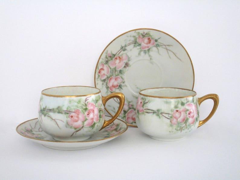 Vintage Germany Hand Painted Porcelain Tea Cup and Saucer Set Vintage Tableware drink ware Set of 2