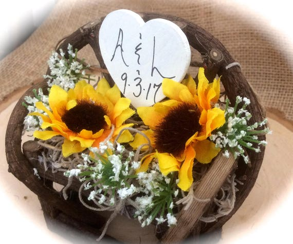 Sunflower Twig & Vine Bench Country Barn Wedding Cake Topper Personalized