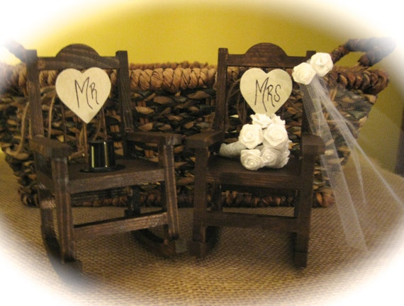 Rustic Wedding Rocking Chair Cake Topper with Veil, Bouquet and Top Hat
