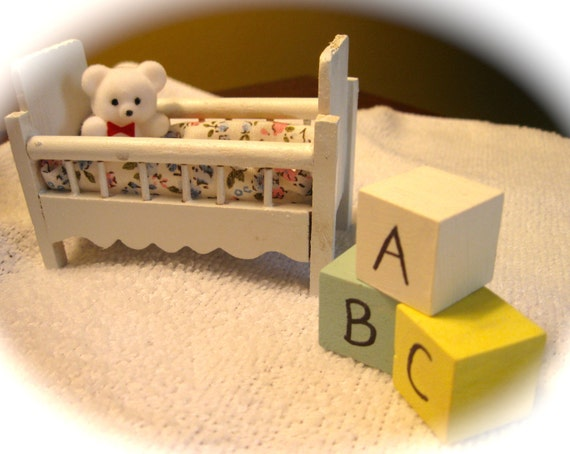 Baby's Crib Baby Shower Cake Topper with Bear & Wood ABC Blocks