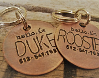 Dog Tag - Hand Stamped Pet ID Tag - Personalized Pet  Tag - Dog Tags - Pet tag - Hand satmped Pet Tag - Copper  Dog Tag - Pet tags