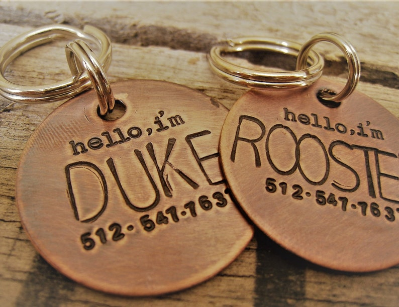 Dog Tag  Hand Stamped Pet ID Tag  Personalized Pet  Tag  image 0