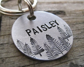 Mini Tree Line Dog Tag - Hand Stamped Pet ID Tag - Personalized Dog Tag - Dog Collar Tag - Engraved Dog Tag - Handsatmped Pet Tag - Dog Tag