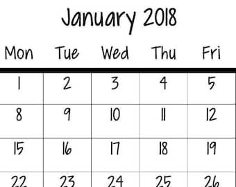2018 Mini Calendar Digital Download, Grace. Small Printable, PDF, Journaling Calendar.