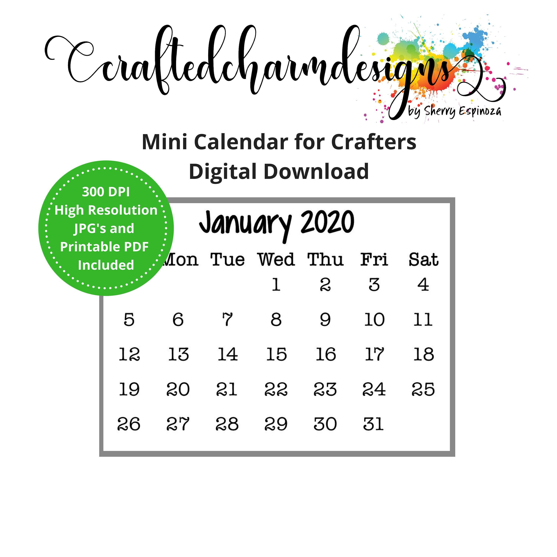 photograph about Printable Mini Calendar titled 2020 Mini Calendar Electronic Down load Printable Mini Calendar Printable PDF Journaling Calendar Minor Calendar Grace