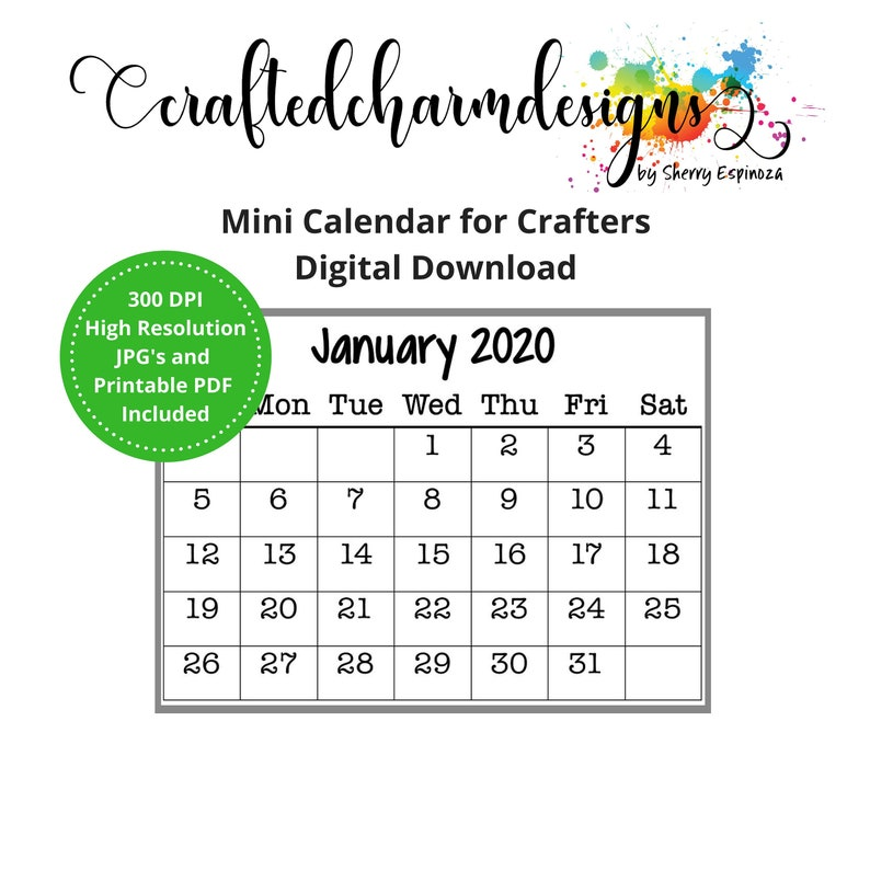 Oc Calendar 2020 2020 Mini Calendar Digital Download Printable Mini Calendar | Etsy
