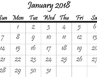 2018 Mini Calendar Digital Download, Pristina. Small Printable, PDF, Journaling Calendar.