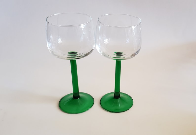 61430ba284d6 Vintage French Wine Glasses by Arcoroc Set of Green Stem Pair