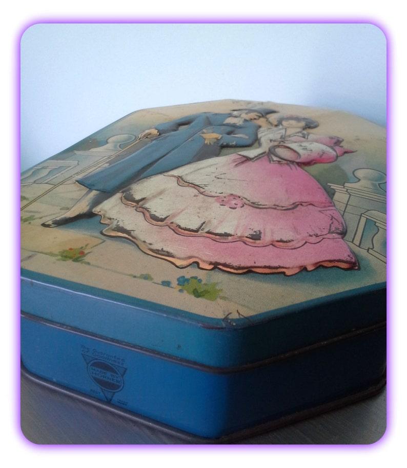 Vintage Tin George Horner Boy Blue Toffee Victorian DressCostume Box with LidVintage Tin Victorian Style BlueVintage Victorian Tin Blue