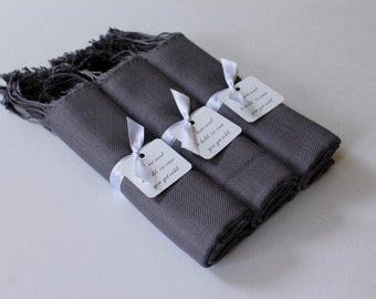 CHARCOAL PASHMINA SETS - Dark Gray Shawls - Warm Favors - Set of 3 - Bridesmaid Pashmina - Gray Pashminas - Wedding Shawl Gray