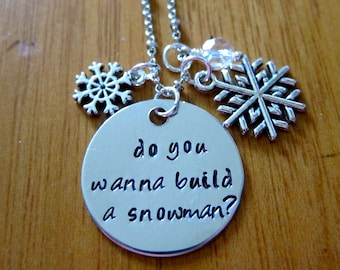 """Frozen Inspired Necklace. Elsa """"Do you wanna build a snowman?"""". Silver colored, snowflake, for women or girls."""