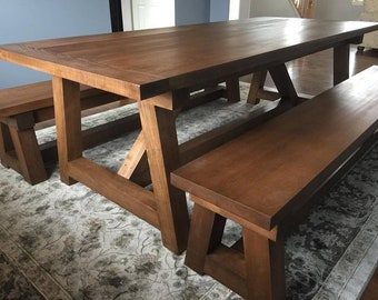 8f83ae9aa5fc5 Classic Farmhouse Dining Table with Benches