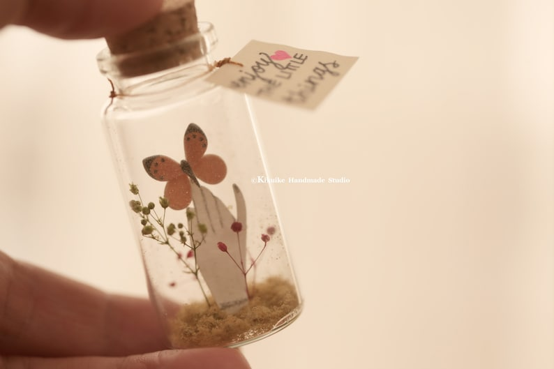 Enjoy the little things,Tiny message in a bottle,Miniatures,Personalised Gift,love card,Valentine Card,Gift for herhim,Girlfriend gift