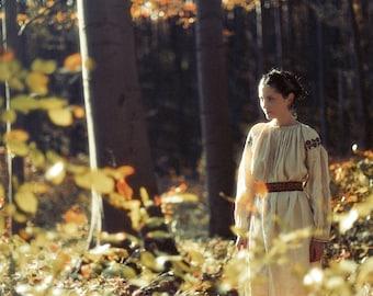Bükk, original fine art photography, print, 8x12, hungarl, autumn, fall, trees, woman, girl, leaves, yellow, green, folk, costume