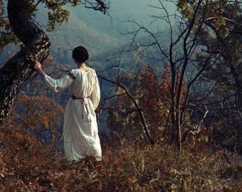 Bükk, original fine art photography, print, 8x12, hungary, mountain, hill, autumn, fall, trees, woman, girl, leaves