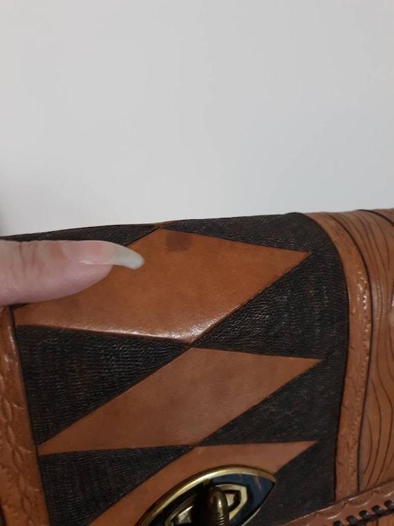 Vintage 60s 70s tooled leather purse / Vintage 70… - image 8