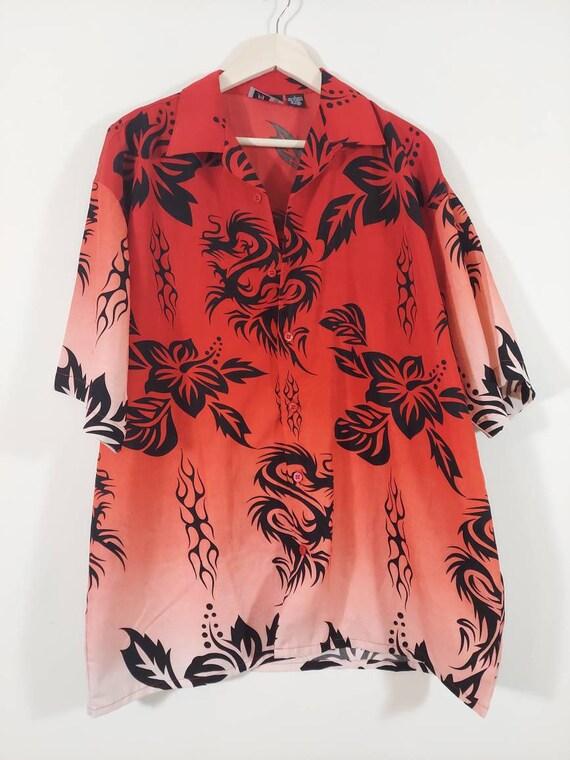 90s Dragon tattoo flame Print shirt / Hawaiian sty