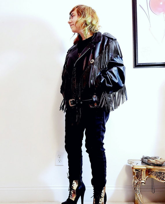 vintage Fringe leather jacket / vintage fringe ja… - image 5